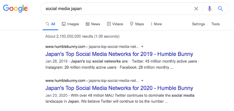 Example of SEO in Japan