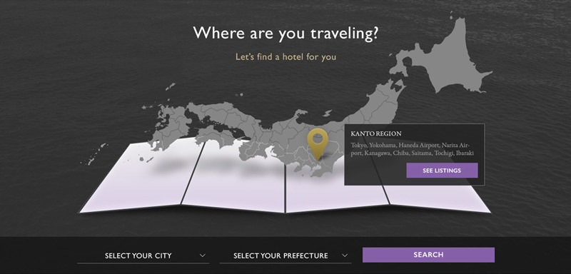 APA Hotels Japan website interactive map