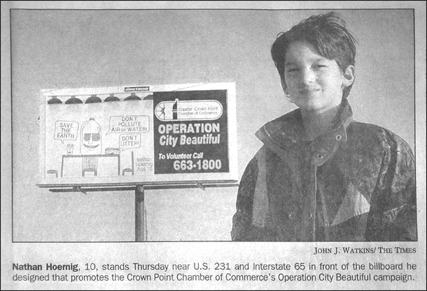 Nathan Hoernig Fifth Grade Newspaper Clipping