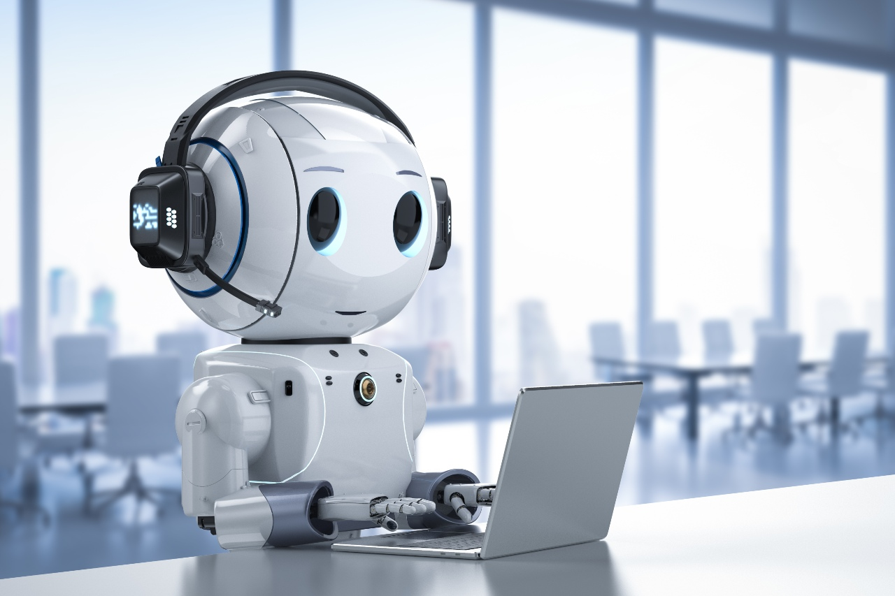 Futuristic and cute bot representing the future of translation services in Japan