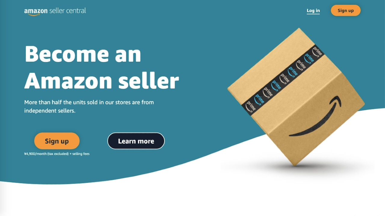 Screenshot of official promotional page for becoming an Amazon seller in Japan